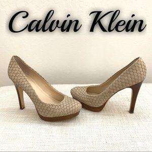 Calvin Klein Cream Kendall Fish Skin Pumps Heels